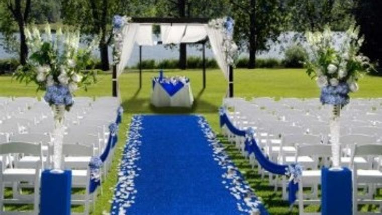 Picture of a Blue Carpet 4' x 20'