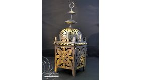 Image of a Moroccan Gold and Black Metal Lantern