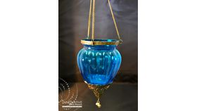 Image of a Moroccan Lantern Hanging Silver and Turquoise