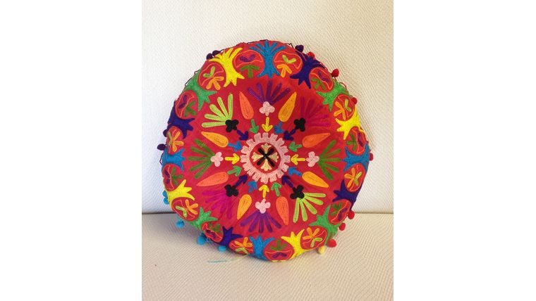 Picture of a Moroccan Pillow Round Red Flower