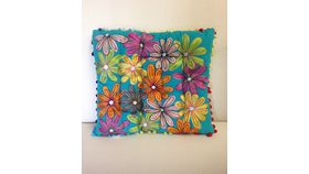 Image of a Moroccan Pillow Square Turquoise Flowers