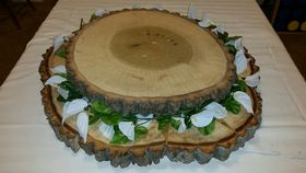 Image of a Rustic two-tiered lighted cake stand