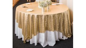 "Image of a Sequins mesh - Light Gold Table Overlay (90"" square)"