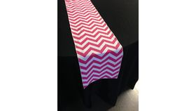 "Image of a Chevron / Awning Stripe - Watermelon Pink Runners (10"" x 90"")"