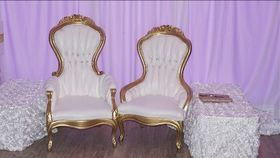 Image of a Victorian King and Queen Chairs Gold and White