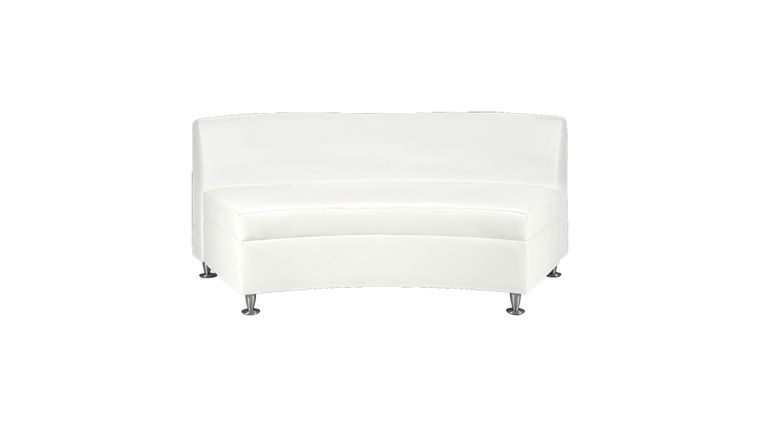Picture of a Continental White Leather Curved Loveseat