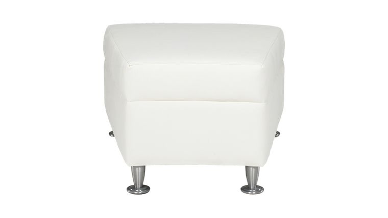 Picture of a Continental White Leather Wedge Ottoman