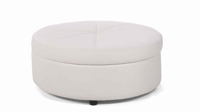 Image of a Whisper White Leather Round Ottoman