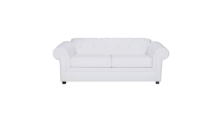 Image of a Plaza White Leather Sofa