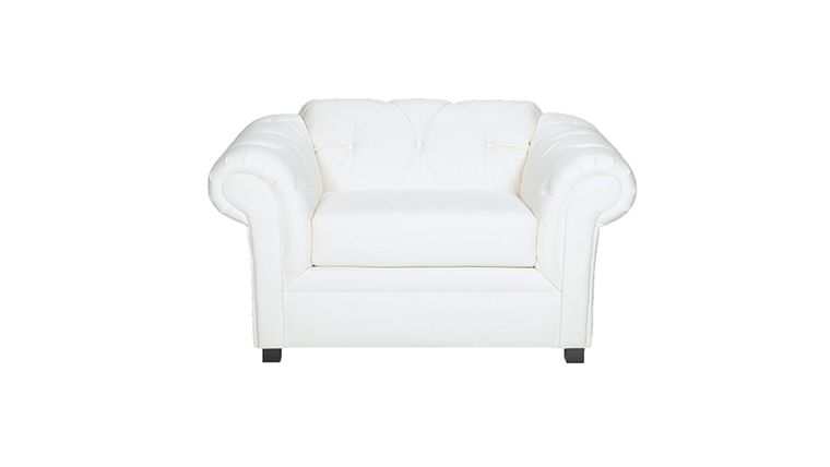 Image of a Plaza White Leather Chair