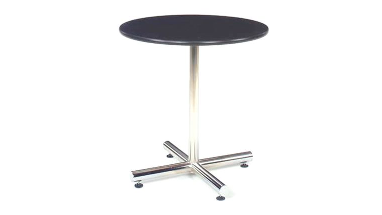 "Picture of a 30"" Round Cafe Table - Black Top, Chrome Base"