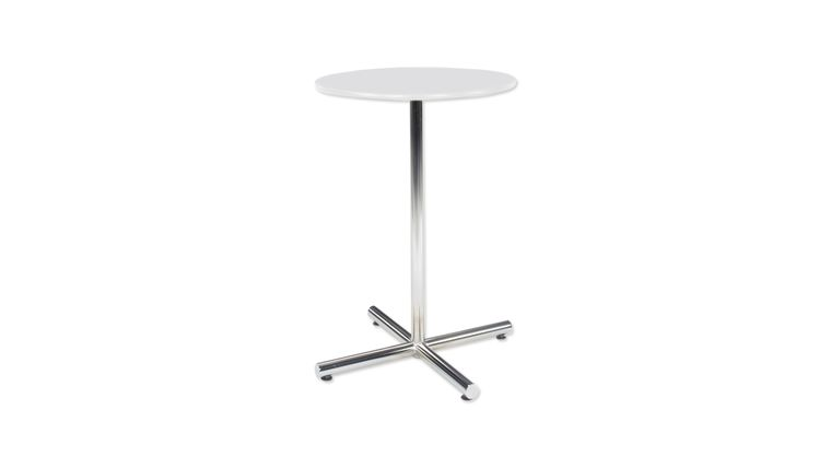"""Picture of a 30"""" Round Bar Table - White Top, Chrome Base"""