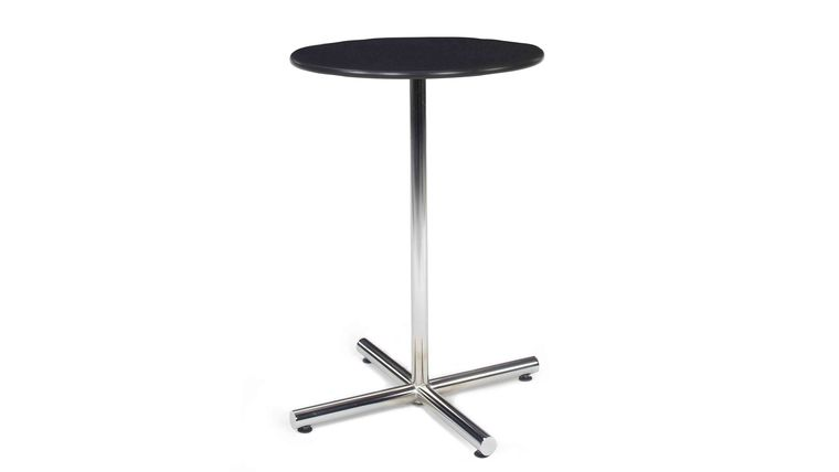 "Picture of a 36"" Round Bar Table - Black Top, Chrome Base"