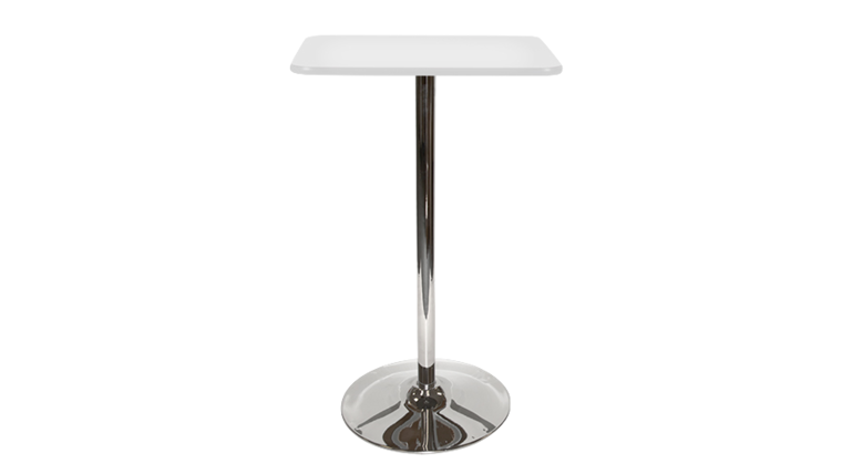 Picture of a Square Bar Table - White, Tulip Base