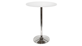 "Image of a 36"" Round Bar Table - White Top, Tulip Base"