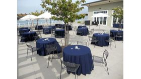 "Image of a Colormax - Navy Blue Tablecloths (90"" x 132"")"