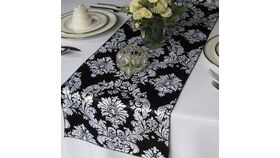 Image of a Table Runner - Lamour Satin - White w/ Black Damask