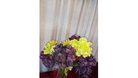 Image of a Lime Green and Dark Purple- Peonies/Geraniums/Daisies