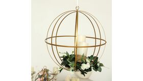 "Image of a 12"" Gold Wrought Iron Folding Ball Floral Sphere"
