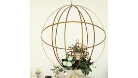 "Image of a 24"" Gold Wrought Iron Folding Ball Floral Sphere"