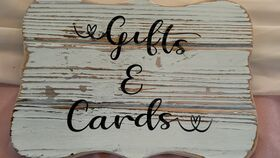 Image of a Antiqued White Gifts And Cards Sign 11x8