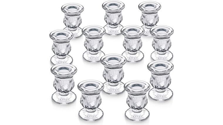 Picture of a 10 Glass Taper Candle Holders