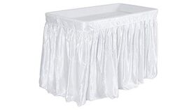 Image of a 4' Chilling Table with white skirt