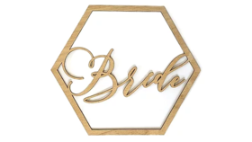 Image of a Wood Chair Sign, Bride