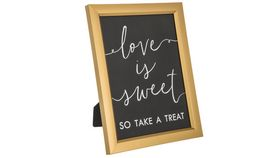 "Image of a Gold Decor, Easelback Sign, LOVE IS SWEET TAKE A TREAT, 12""H"