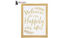 """Image of a Gold Decor, Sign, WELCOME TO OUR HAPPILY EVER AFTER, 17""""H"""