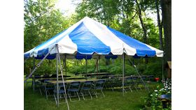 "Image of a ""Social"" Graduation Party Package (Blue/White Tent)"