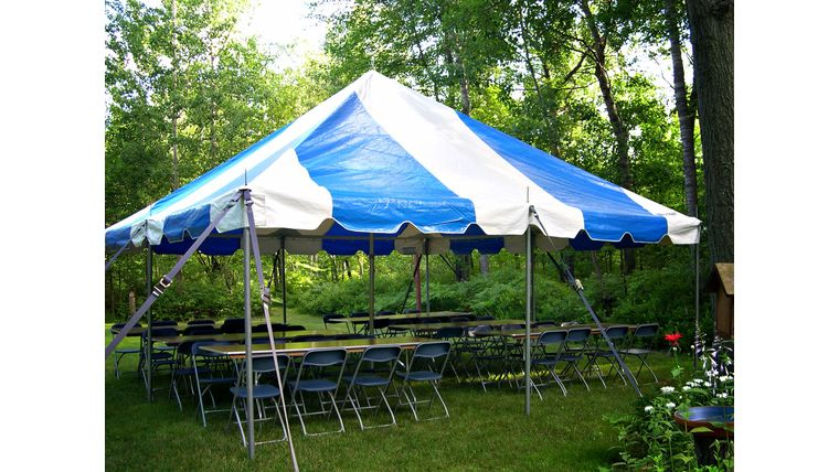 "Picture of a ""Social"" Graduation Party Package (Blue/White Tent)"