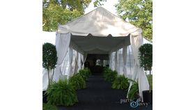 Image of a Marquee Tent Ceiling Draping and Perimeter Lighting