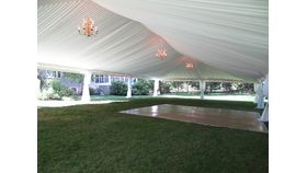 Image of a 40 x 80 Tent Ceiling Lining and Perimeter Lighting