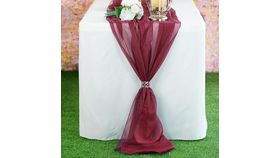 Image of a 6 foot Chiffon Table Runner- Burgundy