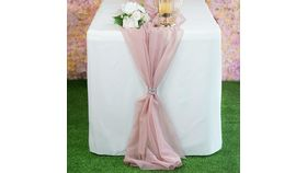 Image of a 6 foot Chiffon Table Runner- Dusty Pink