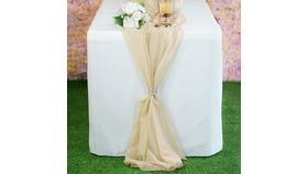 Image of a 6 foot Chiffon Table Runner- Champagne