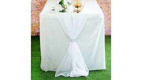 Image of a 6 foot Chiffon Table Runner- White