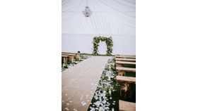 Image of a 6 Ft wide Burlap Aisle Runner (rented per linear foot)