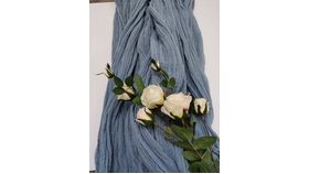 Image of a 10 Ft Dusty Blue Cheesecloth Table Runner