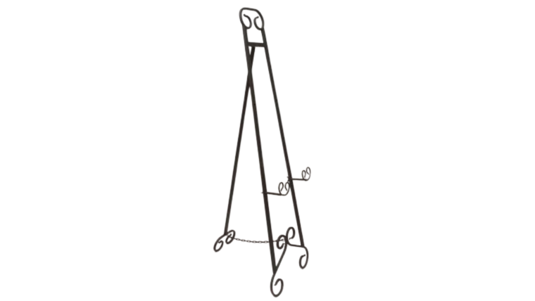"""Picture of a Easel - Floor 53"""" Wrought Iron Scroll"""