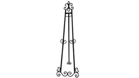 "Image of a Easel - Floor 57"" Wrought Iron Fleur de lis"