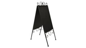 """Image of a Chalkboard - Metal sandwich board 42"""" tall, 14"""" x 22"""" chalkboard"""