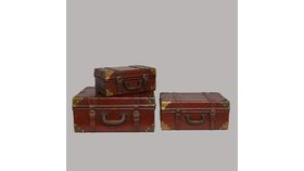 Image of a Burgundy Vintage Nesting Suitcase