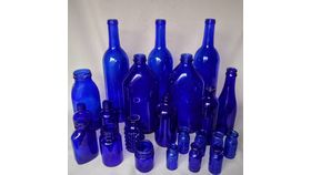 Image of a Bottles-assorted cobalt blue glass tote