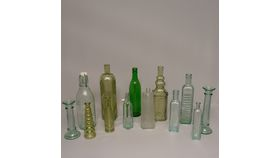 Image of a Bottles-assorted blue/green glass tote