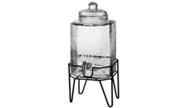 Image of a Beverage Dispenser - 1 1/2 Gal. Hammered glass w/stand