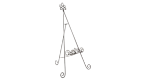 "Image of a Easel - Floor or tabletop 33"" Wrought Iron Fleur de lis"