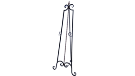 "Image of a Easel - Floor 60"" Wrought Iron Black w/Bronze Fleur de lis"