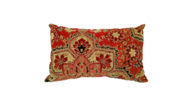 "Image of a Accent Pillow - Lumbar - Red Boho print, 10"" x 18"""
